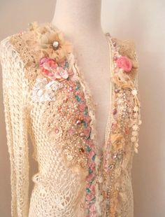 cream ivory upcycled crocheted cardigan shabby chic reworked hand beaded vintage lace small cardi