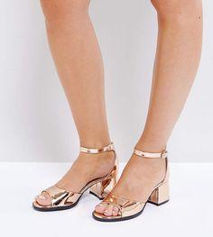 7748a616da11 Lost Ink Wide Fit Rose Gold Block Heeled Sandals