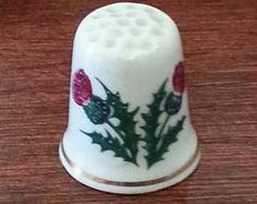 Purple Scottish Thistle Luckenbooth Bone China Thimble