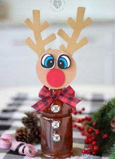 Tea Bottle Rudolph - An Adorable Reindeer Craft Idea! Christmas Tree Brownies Drizzled in Melted Frosting with a Pretzel Trunk! Easter Crafts, Holiday Crafts, Christmas Crafts, Christmas Decorations, Christmas Bows, Christmas Ideas, House Decorations, Homemade Christmas, Halloween Decorations