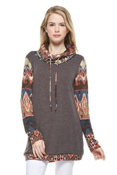 Tribal Print Cowl Neck Tunic - Brown from Knitted Belle Boutique. Shop more products from Knitted Belle Boutique on Wanelo. Diy Fashion, Fashion Outfits, Fashion Trends, Recycled Fashion, Online Clothing Boutiques, Wholesale Clothing, Refashion, Cowl Neck, Belle Boutique