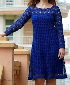 crochelinhasagulhas: Vestido azul em crochê