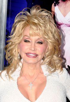Dolly Parton Medium Curls with Bangs