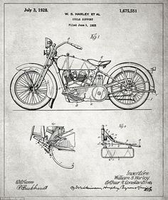 Motorcycle blueprint art print letters and words and images oliver typewriter company blueprints of some of the most significative invention of the last malvernweather Choice Image