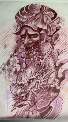 Asian Tattoos, Leg Tattoos, Body Art Tattoos, Tattoo Drawings, Japanese Tattoo Designs, Japanese Tattoo Art, Japanese Sleeve Tattoos, Hanya Mask Tattoo, Bio Organic Tattoo