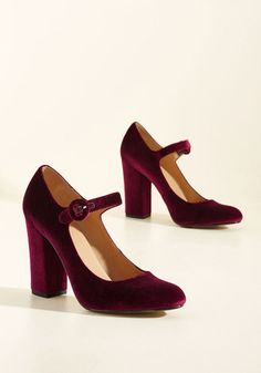 Going Through the Loco-Motions Heel in Maroon Velvet - Red, Solid, Special Occasion, Prom, Party, Cocktail, Girls Night Out, Holiday, Holiday Party, Bridesmaid, Homecoming, Wedding Guest, Vintage Inspired, 50s, Luxe, Boudoir, Darling, Fall, Winter, High, Good, Mary Jane, Chunky heel, Variation, Red, Saturated