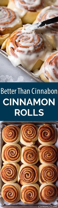 Better Than Cinnabon Cinnamon Rolls - The best cinnamon rolls I've ever tasted! You'll be savoring each and every bite! And yes indeed they are better than Cinnabon's. They have the best texture, an incredible flavor and the cream cheese icing makes them sing. #cinnaboncinnamonrolls #dessert #christmas #breakfast #cinnamonrolls via @cookingclassy
