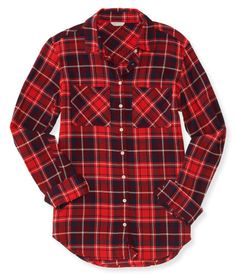 """Channel the spirit of the great outdoors in our Long Sleeve Plaid Woven Shirt, even if you're only headed to the mall! The classic patterns and colors really show off your woodsy style while you window shop; two chest pockets and pearlescent buttons finish the look.<br><br>Relaxed fit. Approx. length (S): 28""""<br>Style: 3259. Imported.<br><br>55% cotton, 45% rayon.<br>Machine wash/dry flat."""