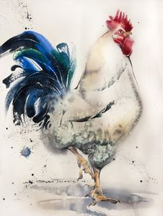 Rooster White&Proud 38*28 sm watercolor on paper @Olga Flerova