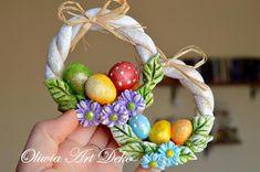 Oliwia Art Deko: Wiosennie :) Diy Fimo, Diy Clay, Clay Crafts, Crafts To Make, Crafts For Kids, Salt Dough Crafts, Birthday Card Drawing, Clay Jar, Plaster Art