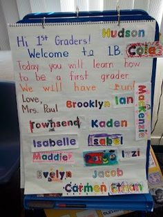 First Day of school! Have them color their names when they get to class, then use them in name learning activities!