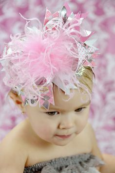 PINK Sock Monkey OVER The TOP Boutique Hair Bow Headband
