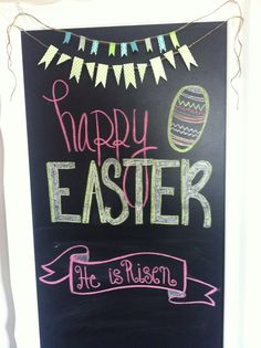 Easter Chalkboard with washi tape banner    Designs by Shelb