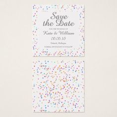 #Romantic Rainbow Confetti Save the Date Square Business Card - #GroomGifts #Groom #Gifts Groom Gifts #Wedding #Groomideas Date Squares, Romantic Wedding Gifts, Groom Gifts, Wedding Preparation, Bridal Gifts, Office Gifts, Customized Gifts, Save The Date, Wedding Anniversary