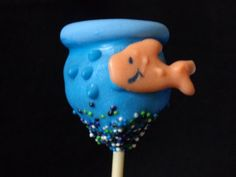 Fishbowl Cake Pops for my great-nephew's first birthday.  The goldfish was made using melted chocolate.