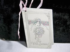 Art Deco Wedding Shower gift card die cut Graphics of 1920's-30's bride on book designed by davis. $6.50, via Etsy.