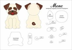 I Love Crafts: Puppies with molds - Stofftiere Felt Animal Patterns, Stuffed Animal Patterns, Stuffed Animals, Dog Crafts, Felt Crafts, Dog Template, Needle Felting Tutorials, Felt Dogs, Dog Pattern