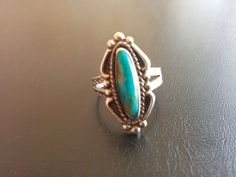 Sign STERLING Silver 925 Vintage Ring Turquoise Stone Flower Southwest Sz 7 3045
