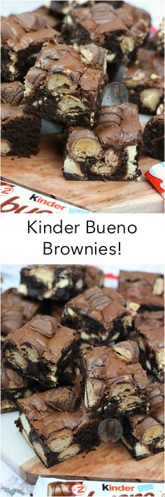 Kinder Bueno Brownies!! Thick, Fudgey & Gooey Chocolate Kinder Bueno Brownies with Kinder Bueno and Kinder Chocolate Chunks!