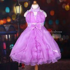 NEW Flower Girl Pageant Party Princess Bridesmaid Dress Wears Purple SZ 4-9 Q447