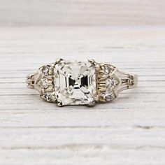 1.50 Carat Asscher Cut Diamond Art Deco Engagement Ring   New York Vintage & Antique Estate Jewelry – Erstwhile Jewelry Co NY, Circa 1925