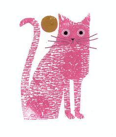 A pink cat ,deep in thought,below a golden sun.Printed by my gocco printer,this is a signed open edition and measures 15cm x 18.5cm.Cellophane-wrapped