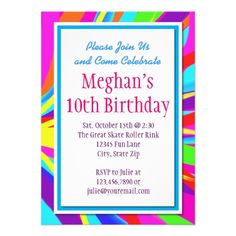 Color Splash Bold Birthday Party Invitations