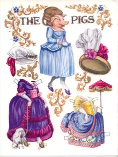 The Pigs Go Baroque paper dolls page 1 http://www.pinterest.com/ejswaim/paper-dolls/