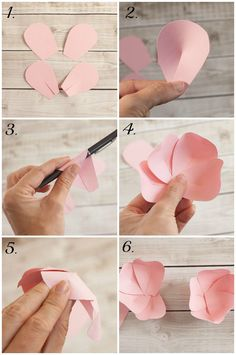 How to make a paper flower tutorial Add some beautiful DIY accents to your gifts with easy to make paper flowers! Arts And Crafts Museum Origami flowers tinkering instructions Source by How To Make Paper Flowers, Giant Paper Flowers, Origami Flowers, Paper Roses, Diy Flowers, Fabric Flowers, Handmade Flowers, Unique Flowers, Paper Flower Wall