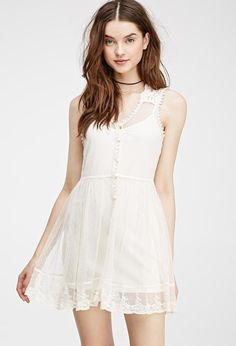 Embroidered Lace Dress Cream 1