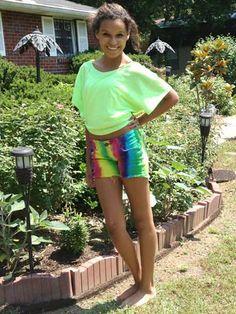 Make your own rainbow-bright denim shorts!