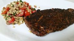 Food and Wine by Jules: Coffee-rubbed Sirloin Steak with Cous Cous Tomato ...