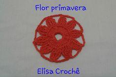 Versão destros :Motivo flor primavera em crochê # Elisa Crochê