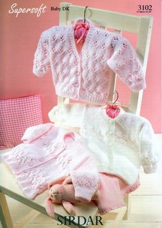 Sirdar Baby Cardigans Knitting Pattern 3102  DK | Knitting | Patterns | Minerva Crafts