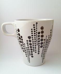 Handpainted Coffee Mug  Black & White by trinako on Etsy, $12.00