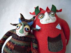 Stuffed Animal Monster Recycled Sweater Striped by sweetpoppycat