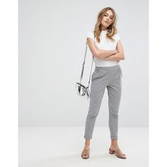 Pull&Bear Stripe Tapered Trouser ($30) ❤ liked on Polyvore featuring pants, grey, grey pants, striped pants, mid rise pants, grunge pants and stripe pants