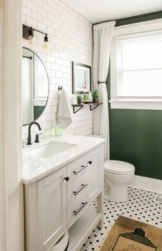 Perfect Tiny House Bathroom Design Ideas chose Pink Beach It's part of the Benjamin Moore Classics color collecti. FIND OUT: Amazing Modern Vintage Bathroom Design Ideas Bathroom Accent Wall, Bathroom Accents, Bathroom Green, Cozy Bathroom, White Vanity Bathroom, Bathroom Ideas White, Hipster Bathroom, Round Bathroom Mirror, Bathroom Wall Ideas