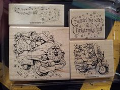 Stampin Up CRUISIN' CHRISTMAS wm Stamp Set SANTA Motorcycle Bike Classic Truck #StampinUp #SantaMotorcycleBikeClassicTruckCar