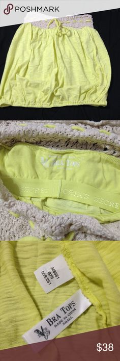 Victoria's Secret Lemon drop yellow tube top Adorable bright tube top! Perfect for summer. Built in bra shelf for a little support. Crocheted detail on top and elastic band on bottom. Only worn once. Victoria's Secret Tops