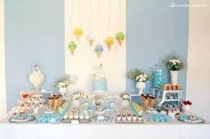 The dessert table for this ice-cream themed baby shower