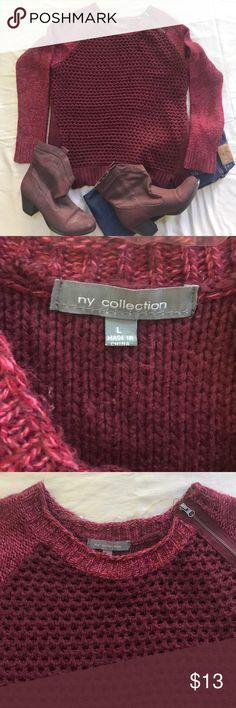 Burgundy sweater, working zipper on shoulder Cozy sweater with working zipper on shoulder NY Collection Sweaters