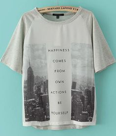 Grey Short Sleeve City Print Loose T-Shirt - Sheinside.com