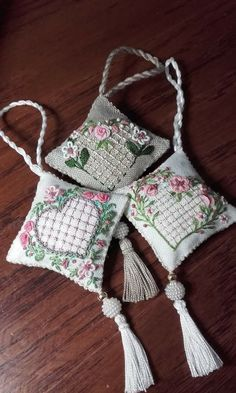 Bullion Embroidery, Embroidery Hearts, Hardanger Embroidery, Hand Embroidery Stitches, Silk Ribbon Embroidery, Cross Stitch Embroidery, Embroidery Designs, Advanced Embroidery, Lavender Bags