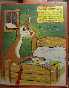 Vintage Christmas Frame Tray Puzzle RUDOLPH THE RED NOSED REINDEER 1950 | eBay