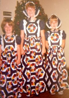 """""""Our Aunt Helen made these for the three of us and while I know she worked very hard on them, I was mortified. Thats me on the left. Im smiling but my eyes are red from crying because I didnt want to wear it. The compromise was that I didn't have to wear the bonnet. […]"""