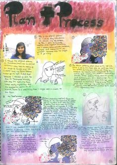 Self Portrait Project Pages: Process page for ''My Inner Demons''(Pg1) by Chhavi Kumar Inner Demons, Art Portfolio, Portrait, 2 In, Art Pieces, Create, Projects, Movies, Movie Posters