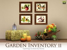 Set of 4 wall hangings with garden plants: pomegranate, peach, fig, mushrooms Found in TSR Category 'Paintings & Posters'