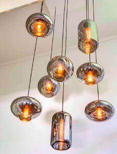 Hanglamp By Eve Leverbaar in 7 verschillende modellen. Kleuren Glazen bollen: Metallic smoke Champagne Black
