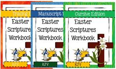 Easter is next month and it's the perfect time to start working through one of these Easter Scripture Workbooks! 3 Levels: Tracing, Manuscript & Cursive 2 Versions: KJV & NIV http://www.christianhomeschoolhub.com/pt/Easter-Resources/wiki.htm
